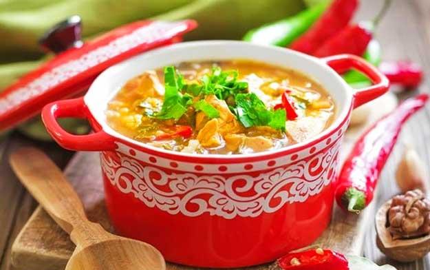 Куриный-суп-харчо-с-рисом