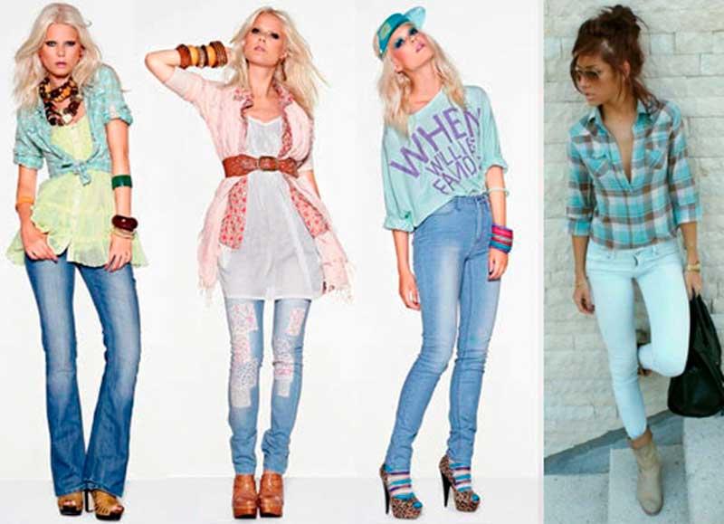 С чем носить женские джинсы разных цветов (фото)